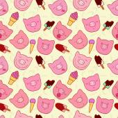 The pattern of the snouts of pigs and ice cream