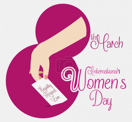 Illustration for Woman hand voting in a fuchsia number eight shape and a greeting message for Women's Day. - Royalty Free Image