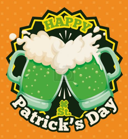 Couple of Foamy Beers Toasting for Patrick's Day Poster, Vector Illustration