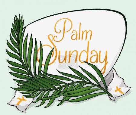 Palm Sunday Sign with Branches and Stole, Vector Illustration