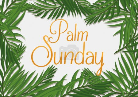 Golden Palm Sunday Text with Branches Around it, Vector Illustration
