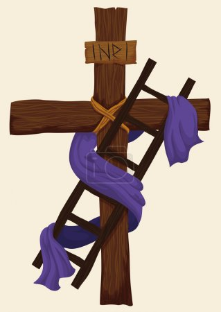 Ilustración de Wooden ladder used for Descent from the Holy Cross with purple fabric around it for Easter. - Imagen libre de derechos