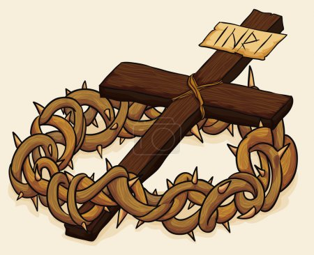 Crown of Thorns and Cross, Vector Illustration