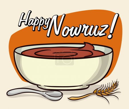 Delicious Samanu for Nowruz Holiday, Vector Illustration