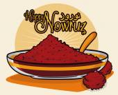 Sumac spice powder in a translucent bowl and spoon with dried fruits like symbols for sunrise in Nowruz tradition