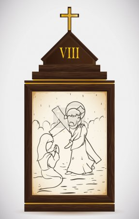 Jesus Meets the Women of Jerusalem, Vector Illustration