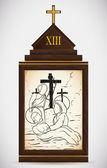 Jesus is Taken Down from the Cross, Vector Illustration