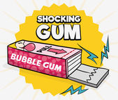 Funny Prank of Shocking Gum for April Fools' Day Vector Illustration