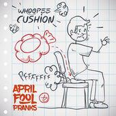 Hilarious Whoopee Cushion Prank, Vector Illustration