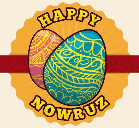 Precious Handmade Decorated Egg for Nowruz Celebration, Vector Illustration