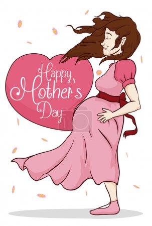 Beauty Pregnant Woman with Greeting Message for Mother's Day, Vector Illustration