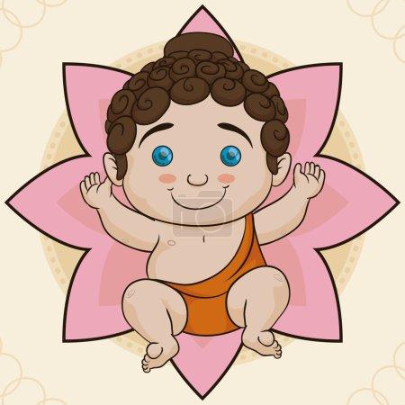 Cute Baby Buddha Birth over Lotus, Vector Illustration