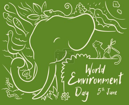 World Environment Day Design with Animals in Line Style, Vector Illustration