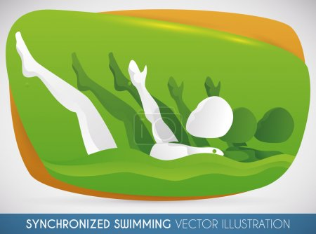 Women Team of Synchronized Swimming doing a Routine in Swimming Event, Vector Illustration