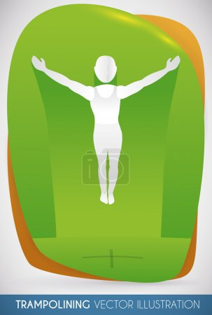 Athlete Jumping High in Trampoline Apparatus, Vector Illustration