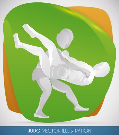 Athletes doing a Judo Throw in Martial Arts Event, Vector Illustration