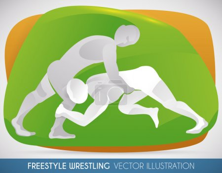 Wrestlers in a Match of Freestyle Wrestling, Vector Illustration