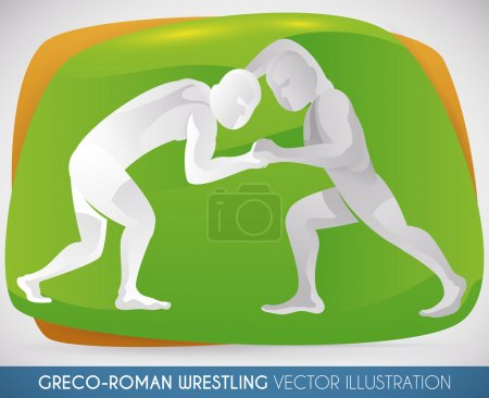 Two Athletes Wrestling in Greco-Roman Style, Vector Illustration