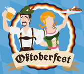 Traditional Bavarian Couple Drinking and Eating During Oktoberfest Vector Illustration