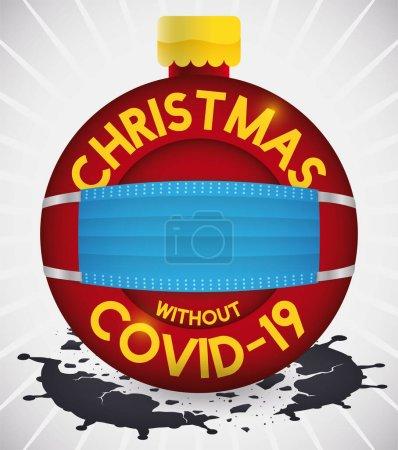 Xmas tree ball, wearing a half-mask smashes a COVID-19 representation, promoting safe Christmas.