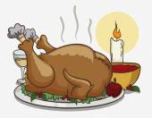 Colorful Tasty Thanksgiving Dinner, Vector Illustration