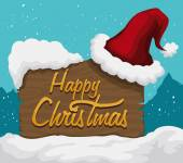 Santa's Hat on Wooden Sign Outdoor, Vector Illustration