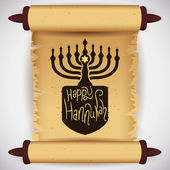 Traditional Hanukkah Elements on Scroll, Vector Illustration