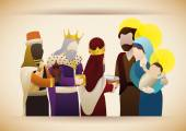 The Three Wise Men with gifts visit the baby Jesus, Vector Illustration