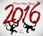 Monkeys Swinging in 2016 Text for Chinese New Year, Vector Illustration