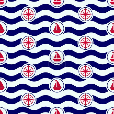 Illustration for Seamless nautical pattern with icons and waves, boats and roses of the wind, sailor stripes - Royalty Free Image