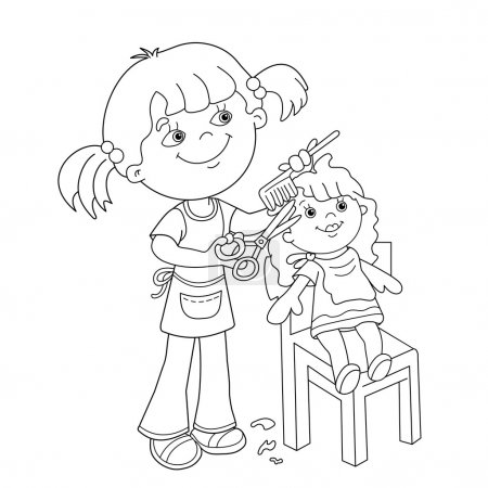 Coloring Page Outline Of girl with playing in the Barber shop