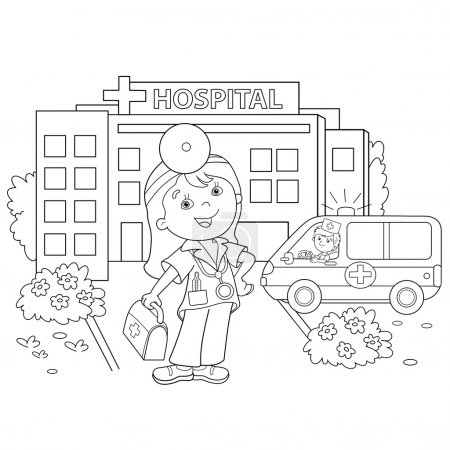 Illustration for Coloring Page Outline Of cartoon doctor with ambulance car near the hospital. Profession. Medicine. Coloring book for kids - Royalty Free Image