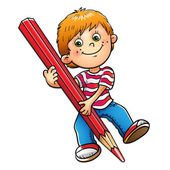 Young boy drawing with red pencil isolated on white