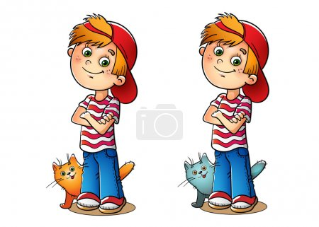 Illustration pour Garçon en bonnet rouge et t-shirt rayé avec son chat sur blanc - image libre de droit