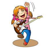 Zbarvení stránky osnovy a kreslený Boy s kytarou