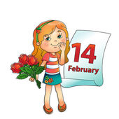 February 14 Girl with bouquet of roses  with a calendar