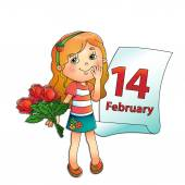 February 14 Valentine's day Day of lovers Beautiful girl with a bouquet of roses in his hand with a calendar on a white background