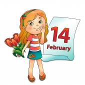 Girl with bouquet of tulips with a calendar February 14