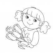 Coloring page outline of Beautiful girl with bouquet of tulips in his hand