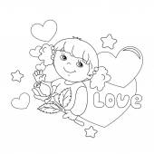 Coloring page outline of Beautiful girl with rose in hand with hearts February 14 Valentine's day Day of lovers