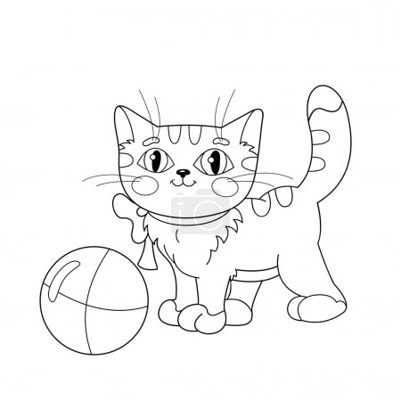 Illustration pour Coloriage Aperçu D'un chat moelleux jouant avec la balle. Livre à colorier pour enfants - image libre de droit