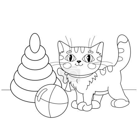 Illustration pour Coloriage Aperçu De chat dessin animé jouant avec des jouets. Livre à colorier pour enfants - image libre de droit