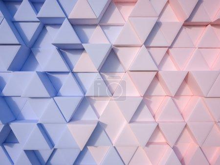 Photo pour Sérénité bleu et quartz rose abstrait 3d fond triangle - image libre de droit