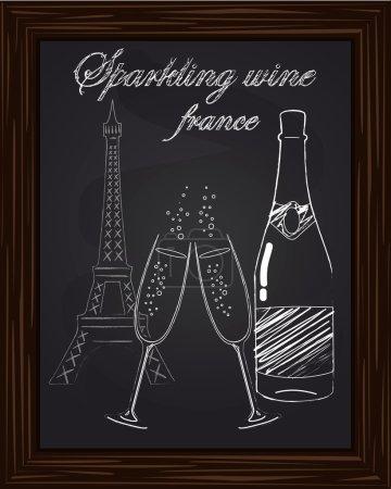 Illustration pour Belles deux verres et une bouteille de champagne sur le fond Tour Eifel dessinée en chlk - image libre de droit