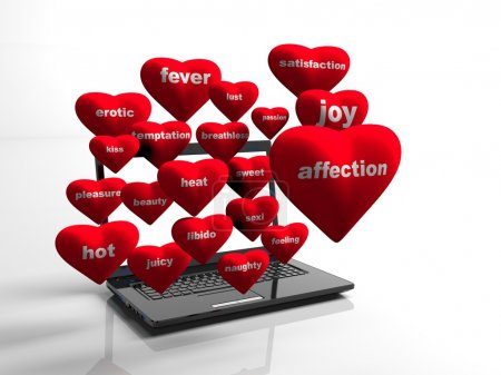 hearts background on modern laptop isolated,  3d render
