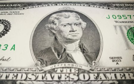 Close up of one US dollar bank note with image of Jefferson