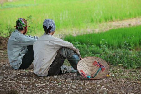Vietnamese Hmong minority ethnic farmers ploughing and planting