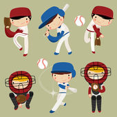Baseball kids character set colorful vector illustration