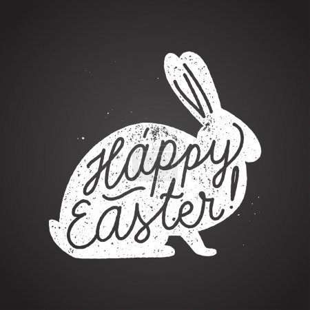Illustration for Happy easter calligraphy lettering writting with chulk on blackboard - Royalty Free Image