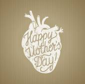 Mothers day sign calligraphy and grungy heart sign on craft paper background